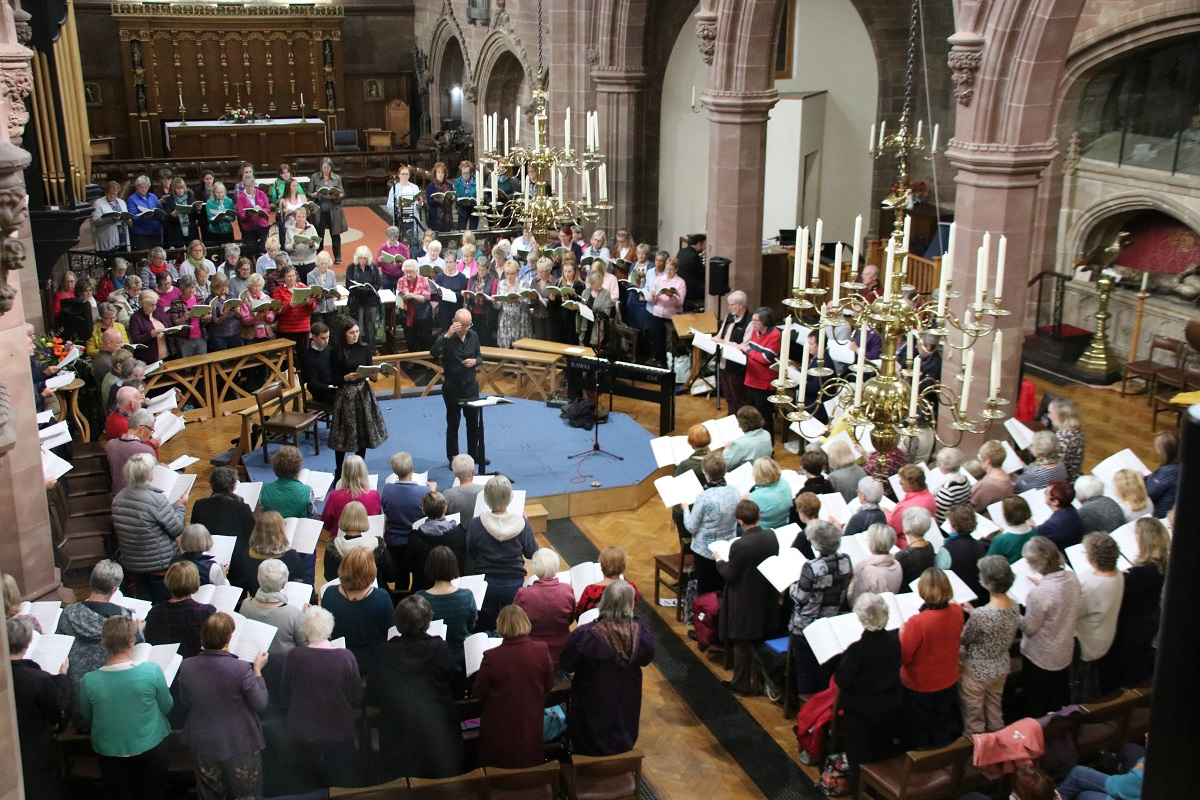 Bob Chilcott and choir perform Christmas Oratorio at St Mike's Sept 2019.