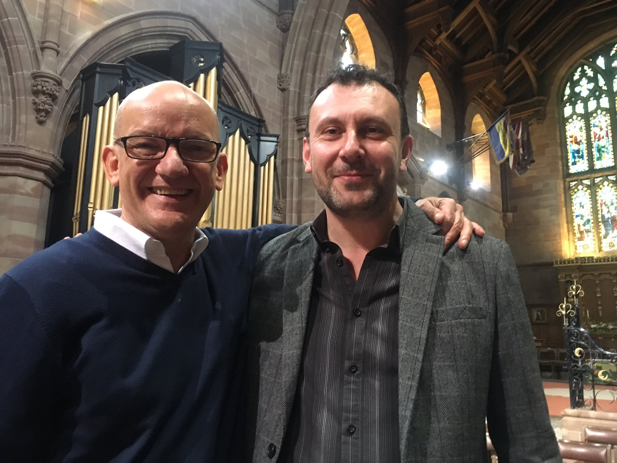 Bob Chilcott and Christopher Cromar at the CCS Singing Day, September 2017.